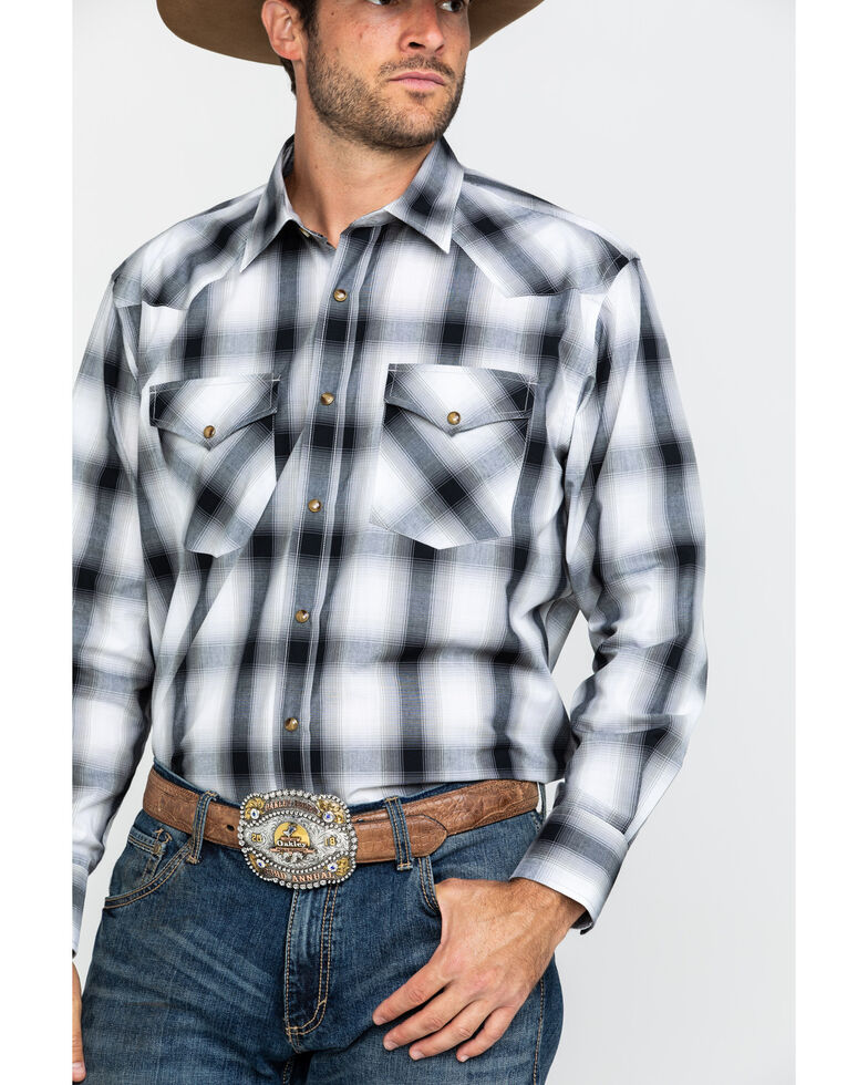 Pendleton Men's White Frontier Large Plaid Long Sleeve Western Shirt , White, hi-res