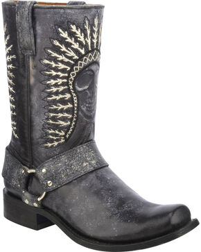 Corral Men's Skull Embroidered Western Boots, Black, hi-res