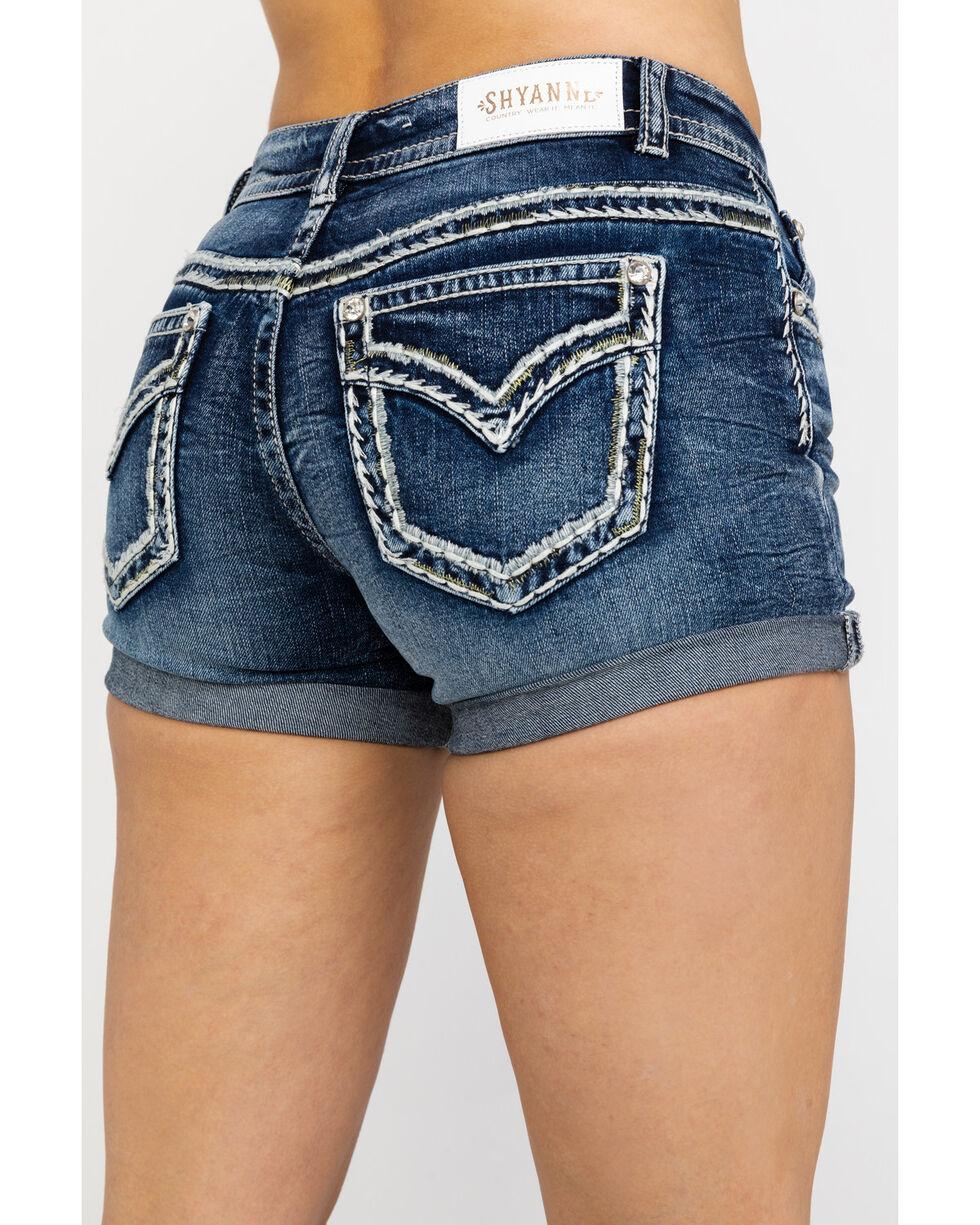Shyanne Women's Denim Med Wash Rolled Hem Shorts , Blue, hi-res