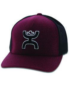 HOOey Boys' Maroon Youth Logo Patch Flex Fit Ball Cap , Maroon, hi-res