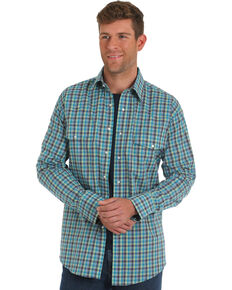 Wrangler Men's Turquoise Wrinkle Resistant Plaid Long Sleeve Western Shirt , Turquoise, hi-res