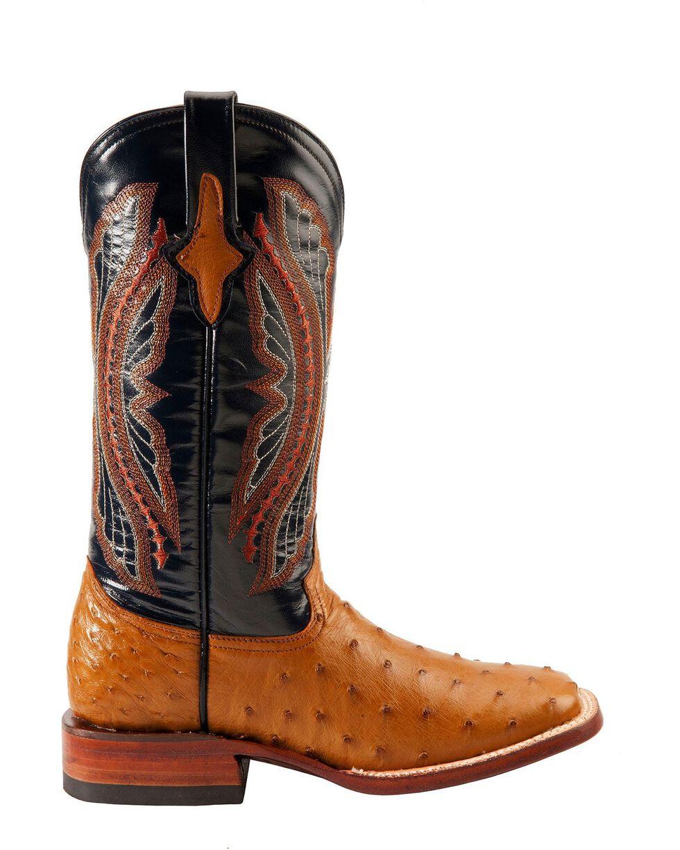 Ferrini Women's Full Quill Ostrich Square Toe Exotic Boots, Cognac, hi-res