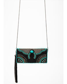Mary Frances Women's Squash Blossom Beaded Crossbody Wallet, Black, hi-res