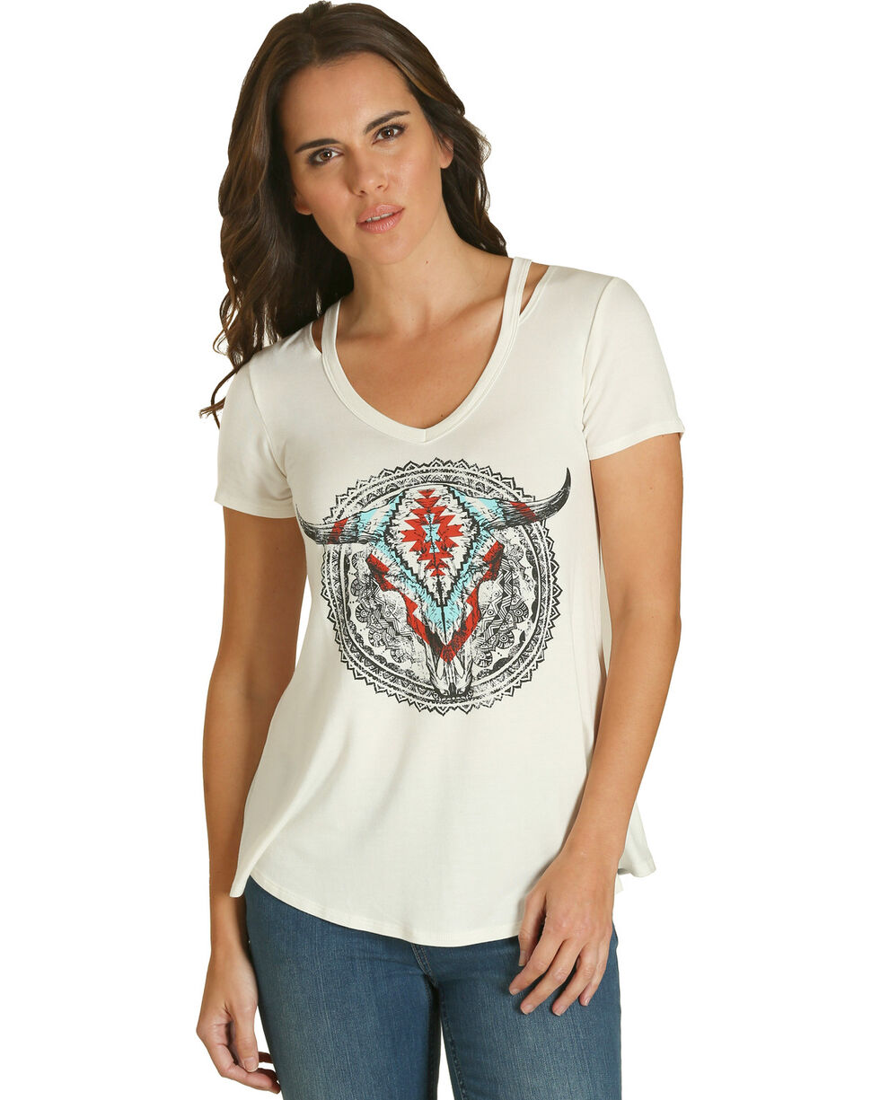 Wrangler Women's White Skull Graphic Tee , White, hi-res