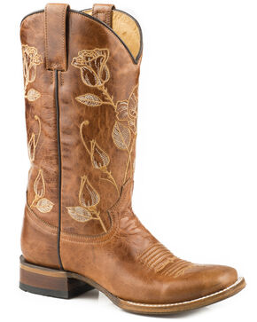 Roper Women's Desert Rose Embroidered Cowgirl Boots - Square Toe, Brown, hi-res