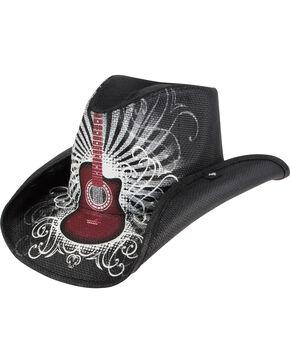Peter Grimm Truss Guitar Printed Straw Cowboy Hat, Black, hi-res