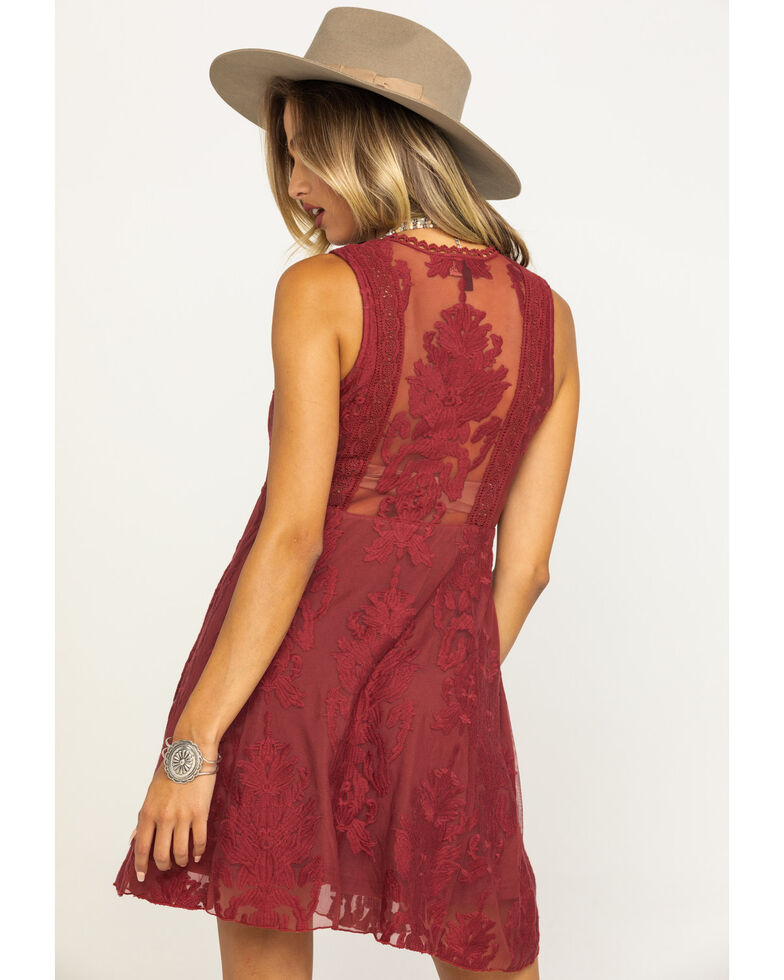 Shyanne Womens Rust Lace Sleeveless Dress