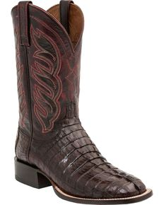Lucchese Men's Hornback Caiman Tail Exotic Boots, Barrel Brn, hi-res