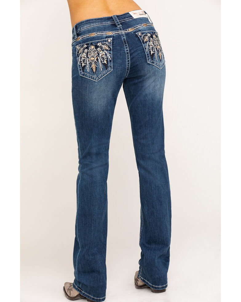 Grace in LA Women's Dark Feather Embroidered Bootcut Jeans, Blue, hi-res