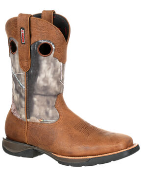 Rocky Men's LT Waterproof Camo Western Work Boots - Square Toe, Camouflage, hi-res