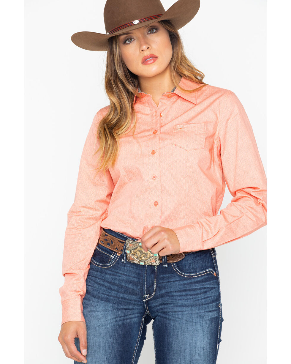 Cinch Women's Core Geo Print Long Sleeve Western Shirt , Peach, hi-res