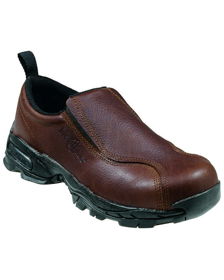 Nautilus Men's Slip-On Steel Toe ESD Work Shoes, Brown, hi-res
