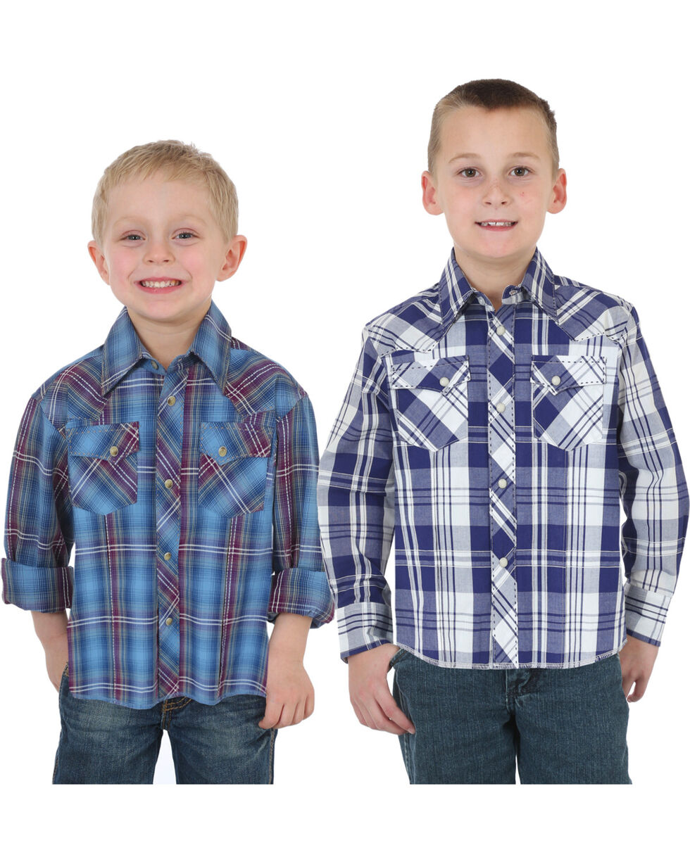 Wrangler Boys' Assorted Western Plaid Shirt , Multi, hi-res