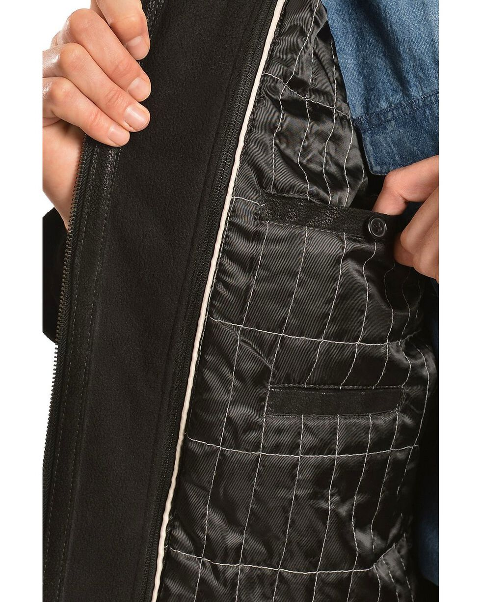 Scully Double Collar with Knit Zip Out Leather Jacket, Black, hi-res
