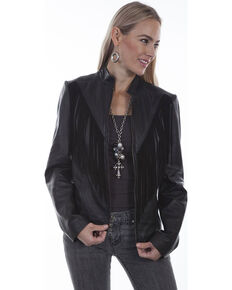 Scully Women's Fringe Western Beaded Leather Jacket, Black, hi-res