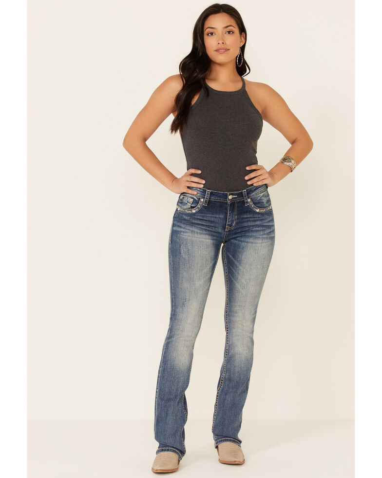 Grace in LA Women's Zig Zag Bootcut Jeans, Blue, hi-res