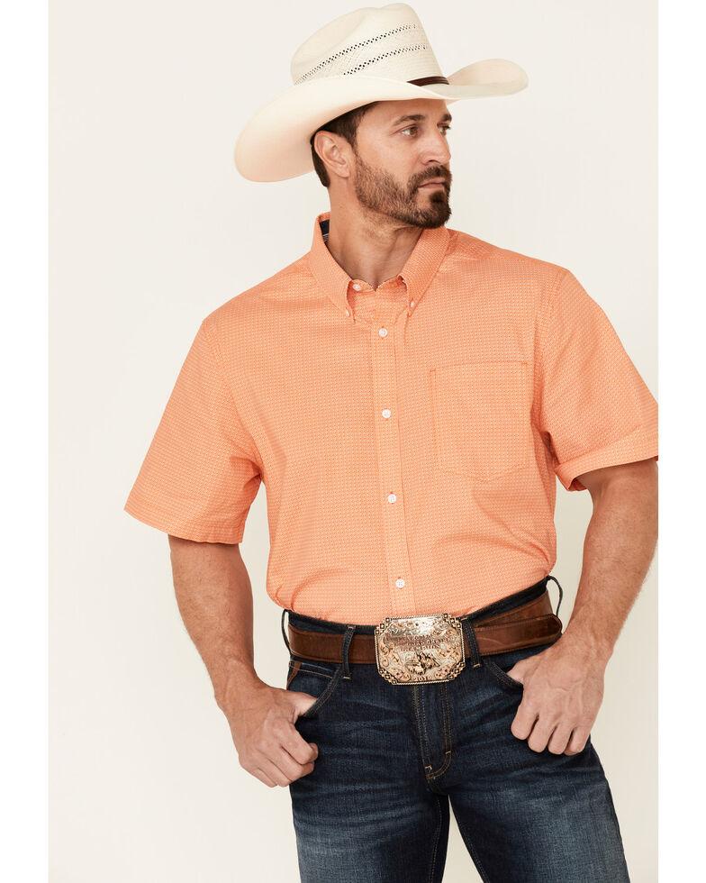 Cody James Core Men's Finesse Geo Print Short Sleeve Button-Down Western Shirt , Orange, hi-res