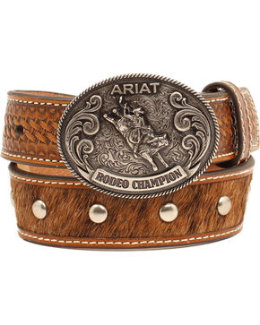 Ariat Boys' Faux Calf Hair Belt, Tan, hi-res