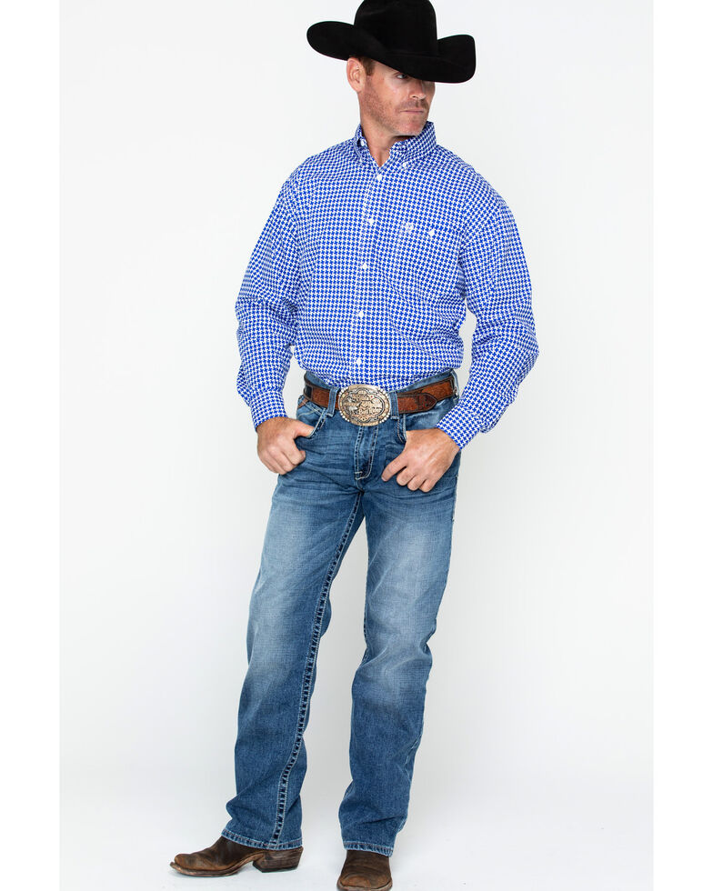 George Strait by Wrangler Men's Large Geo Print Long Sleeve Western Shirt , Blue/white, hi-res