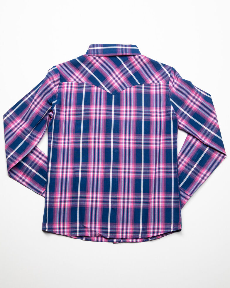 White Label by Panhandle Girls' Navy Plaid Long Sleeve Western Shirt, Navy, hi-res