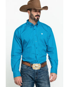 Cinch Men's Turquoise Star Geo Print Long Sleeve Western Shirt - Big , Turquoise, hi-res