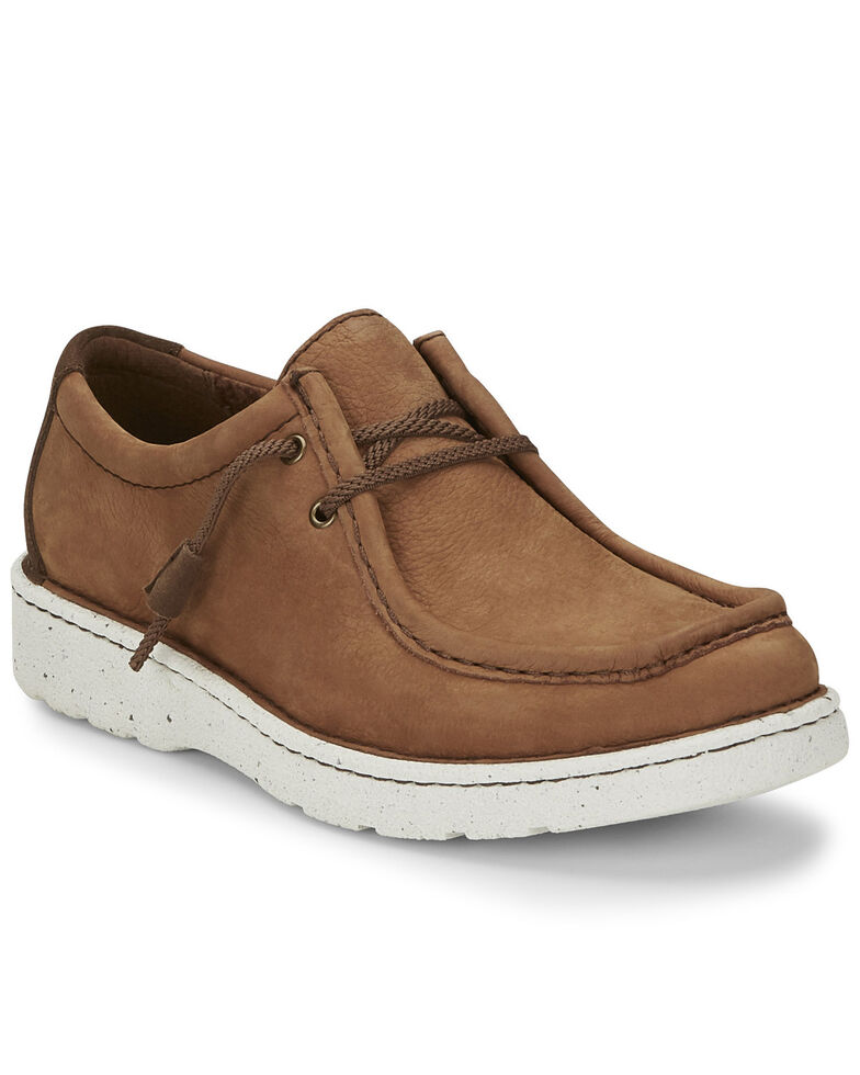 Justin Men's Hazer Camel Lace-Up Shoes - Moc Toe, Tan, hi-res