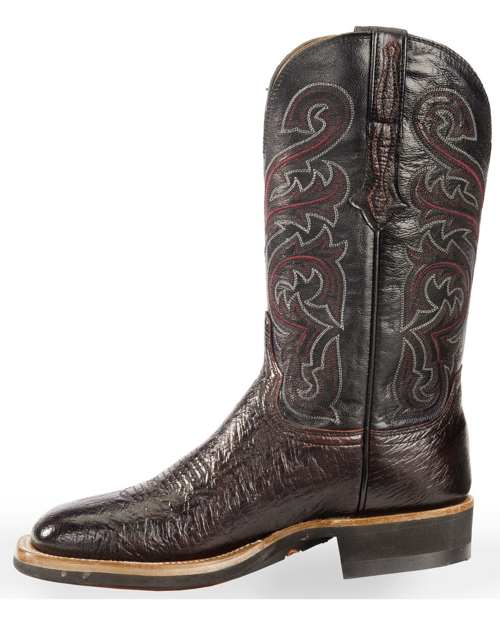 Lucchese Men's Handmade Black Cherry Lance Smooth Ostrich Western Boots - Square Toe , Black Cherry, hi-res