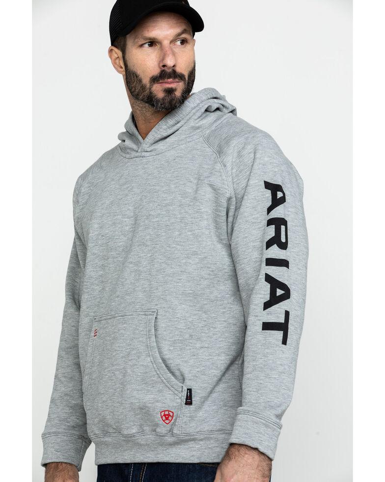 Ariat Men's Heather Grey FR Primo Fleece Logo Hooded Work Sweatshirt - Big , Heather Grey, hi-res