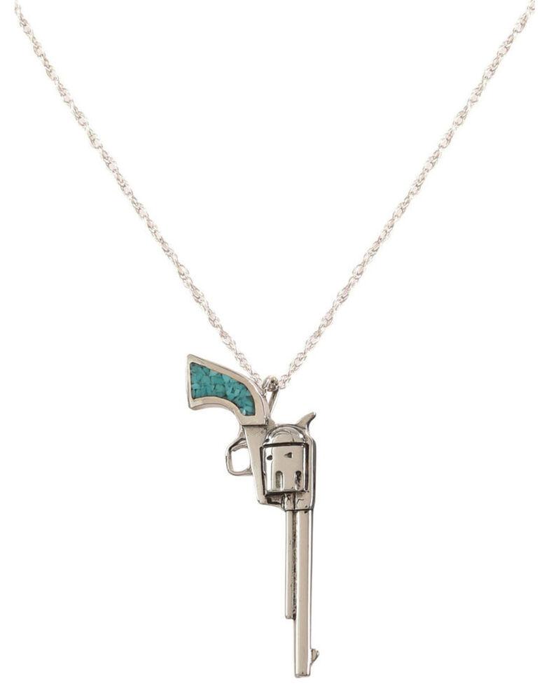 Silver Legends Women's Long Barrel Pistol Necklace , Turquoise, hi-res