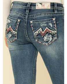 "Miss Me Women's Light Wash Americana Blowout 32"" Bootcut Jeans, Blue, hi-res"