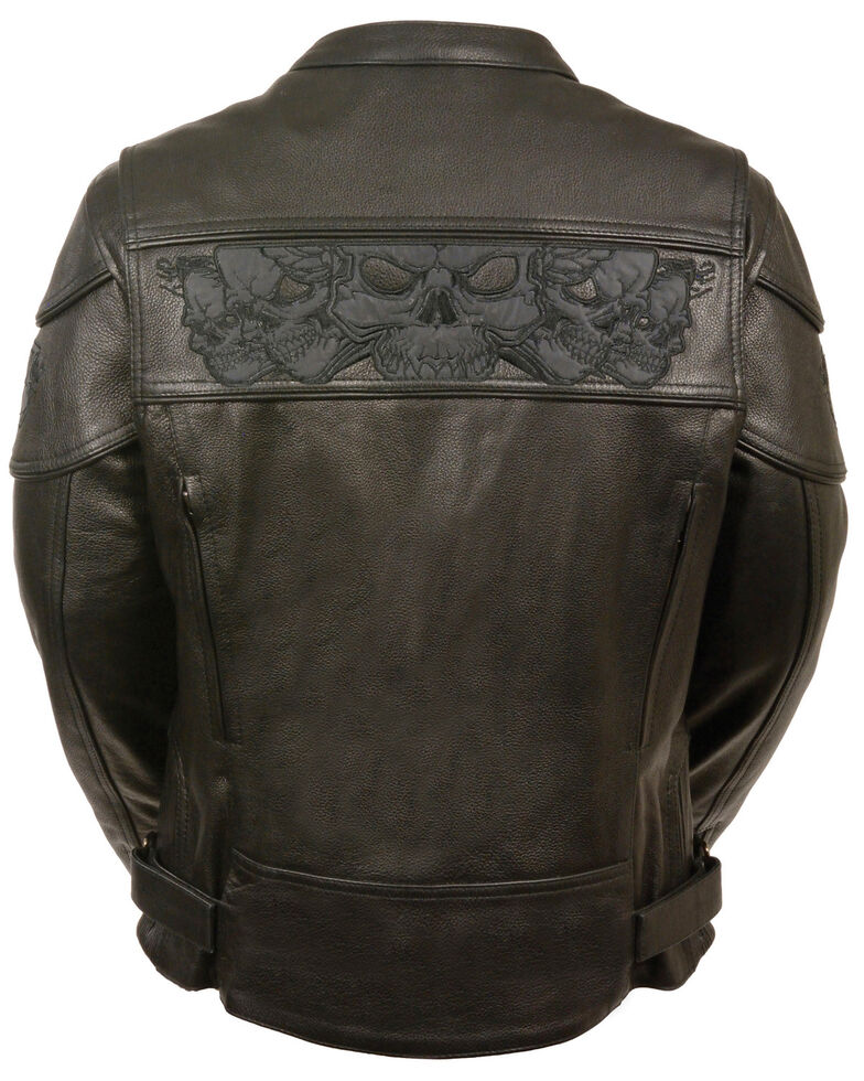 Milwaukee Leather Women's Reflective Skull Crossover Scooter Jacket - 3X, Black, hi-res