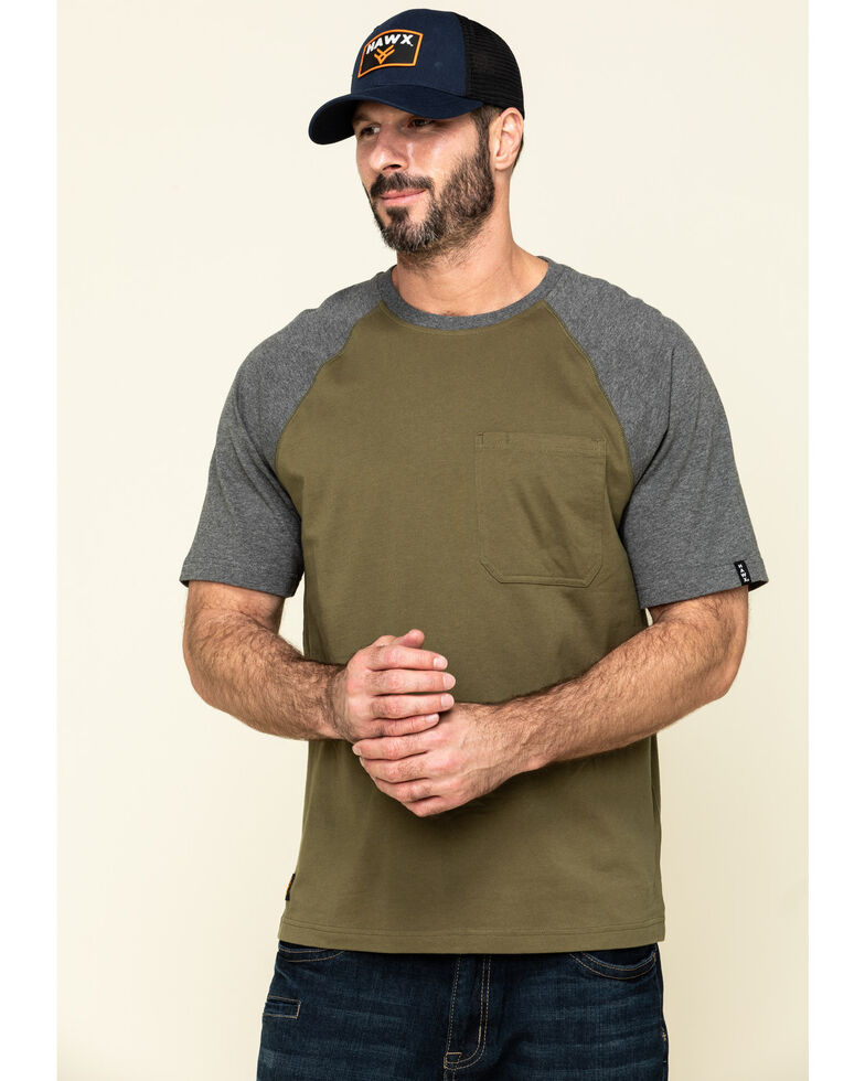Hawx Men's Olive Midland Short Sleeve Baseball Work T-Shirt , Olive, hi-res