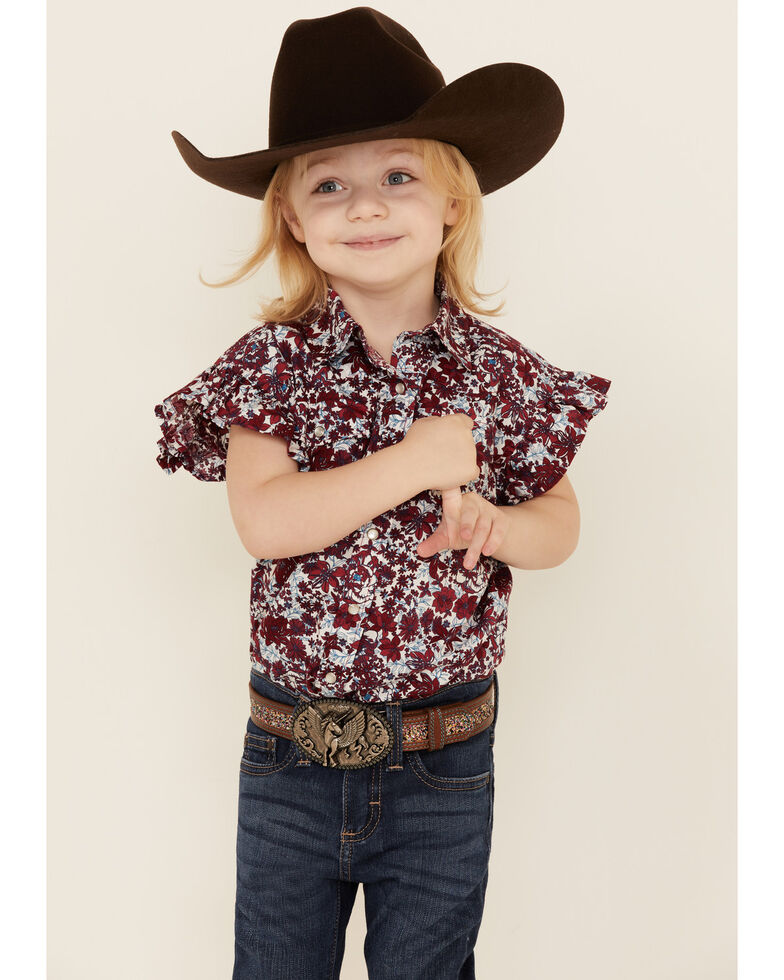 Shyanne Toddler Girls' Red Floral Print Ruffle Short Sleeve Western Shirt , Red, hi-res
