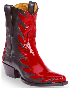 Liberty Black Women's Red Patent Kingdom Short Boots - Snip Toe, Red, hi-res