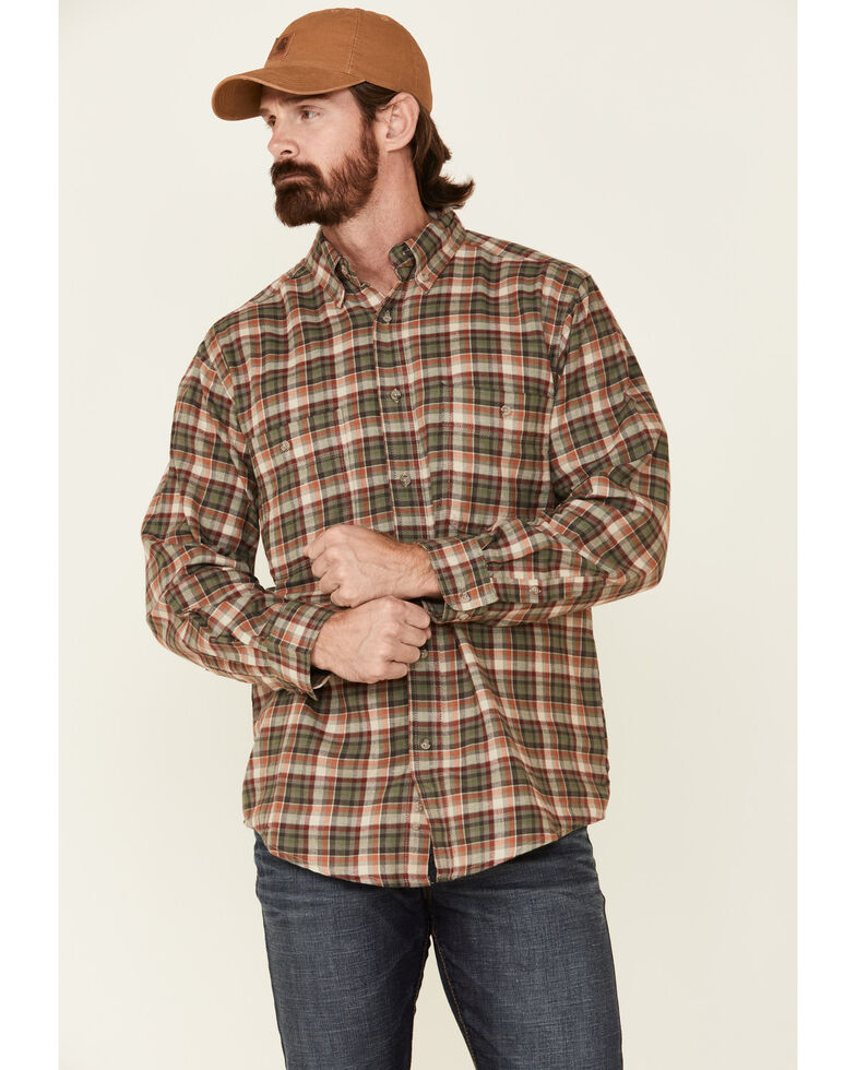 Wrangler Rugged Wear Men's Khaki Blue Ridge Long Sleeve Western Flannel Shirt , Beige/khaki, hi-res