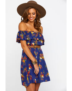 a614563e03580 Rock   Roll Cowgirl Women s Off The Shoulder Button Down Floral Dress