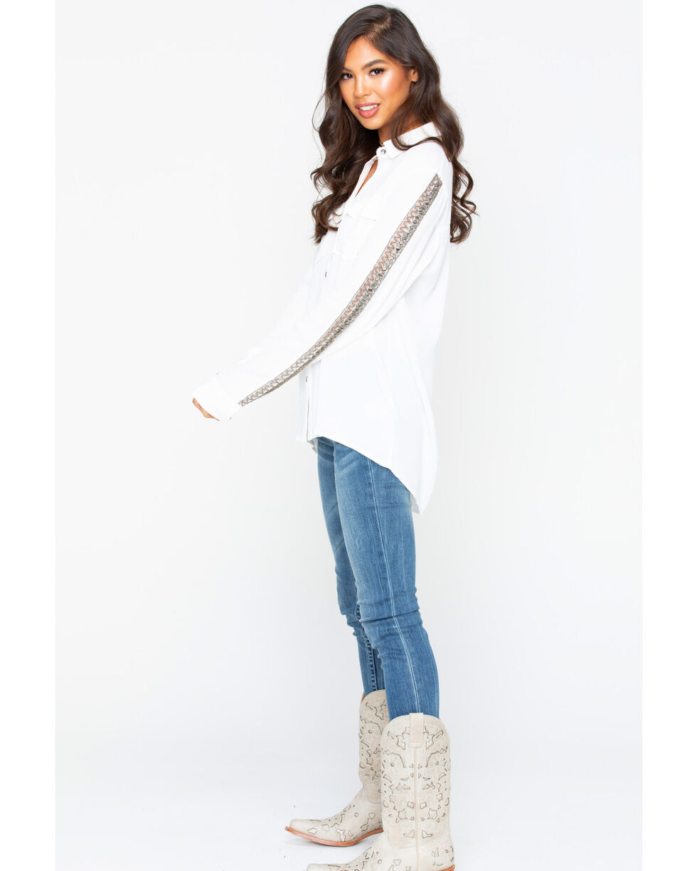 Miss Me Women's Button Down Lace Insert Long Sleeve Top, Off White, hi-res
