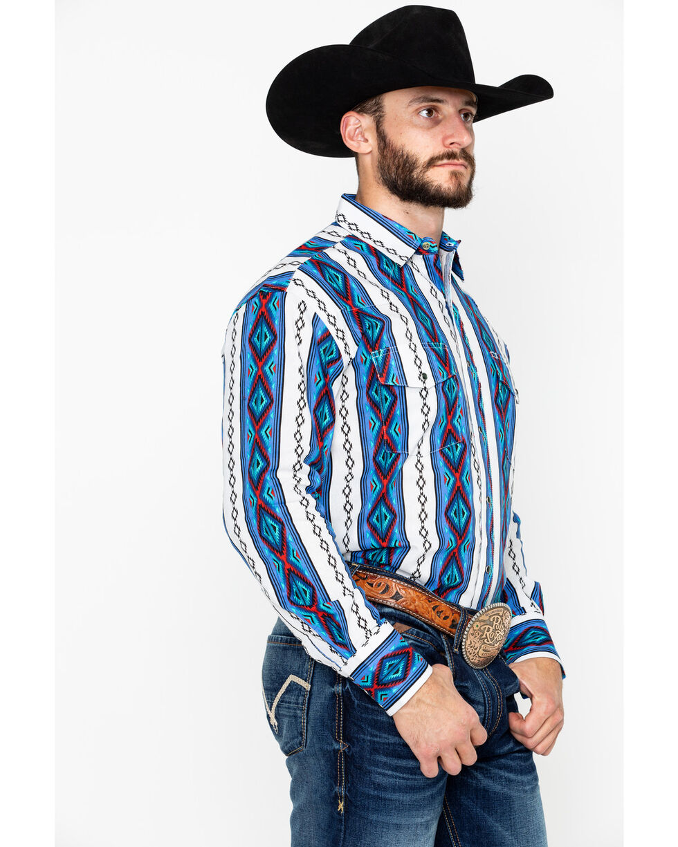 Wrangler Men's Grey Checotah Long Sleeve Western Shirt , Blue, hi-res
