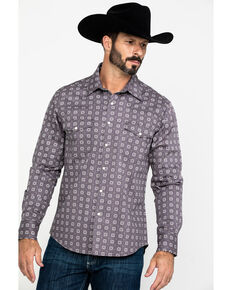 Rock & Roll Cowboy Men's FR Printed Floral Twill Long Sleeve Work Shirt , Charcoal, hi-res