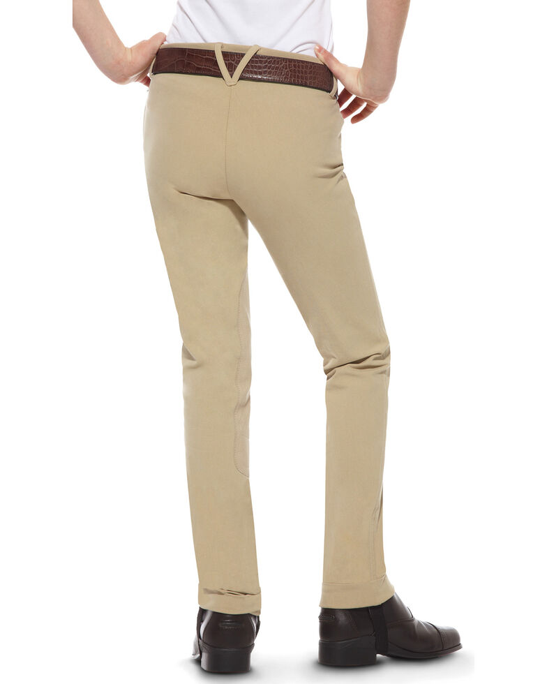 Ariat Girls' Heritage Side Zip Jodhpur Riding Breeches, Tan, hi-res