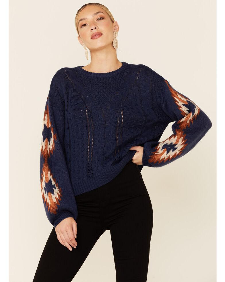 Rock & Roll Denim Women's Navy Aztec Sleeve Pullover Sweater , Navy, hi-res