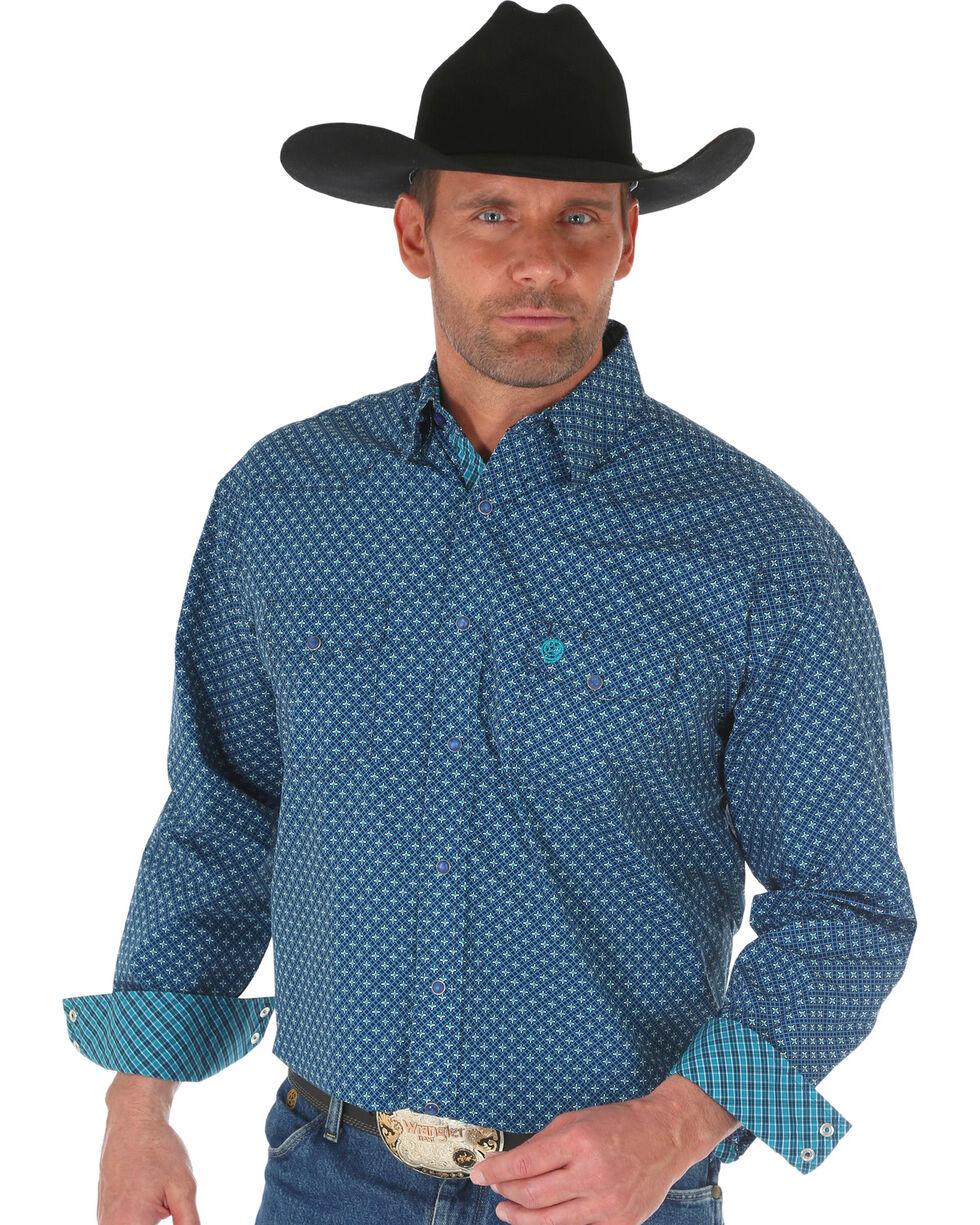 Wrangler George Strait Men's Navy Geo Print Shirt , Navy, hi-res