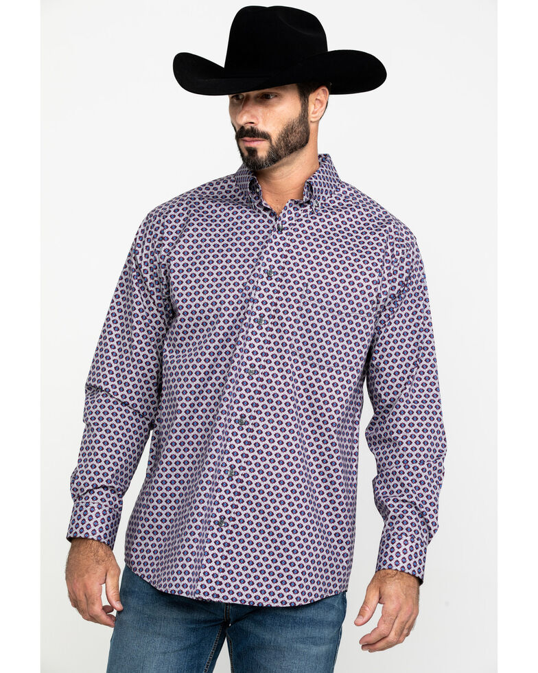 Tuf Cooper Men's Burgundy Stretch Geo Poplin Print Long Sleeve Western Shirt , Burgundy, hi-res