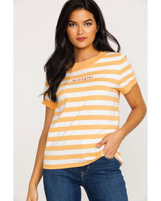 Wrangler Women's Modern Striped Ringer Logo Tee , Orange, hi-res