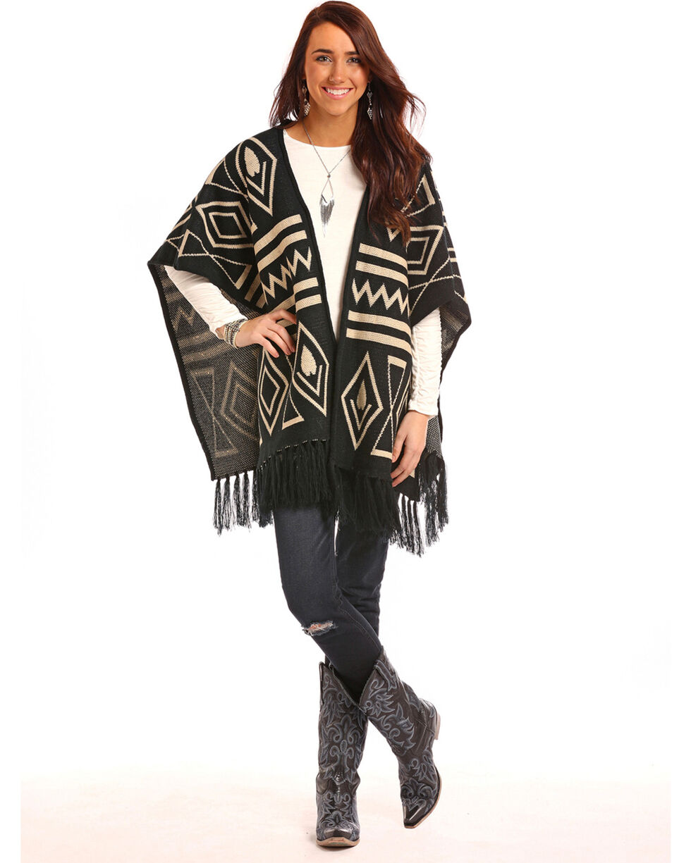 Panhandle Women's Black Tribal Print Poncho , Black, hi-res