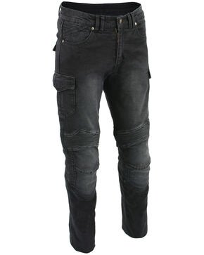 "Milwaukee Leather Men's Black 32"" Aramid Reinforced Straight Cut Denim Jeans - Big, Black, hi-res"