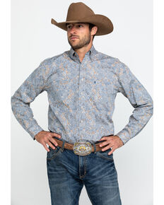 Roper Men's Mirror Paisley Print Long Sleeve Western Shirt , Brown, hi-res