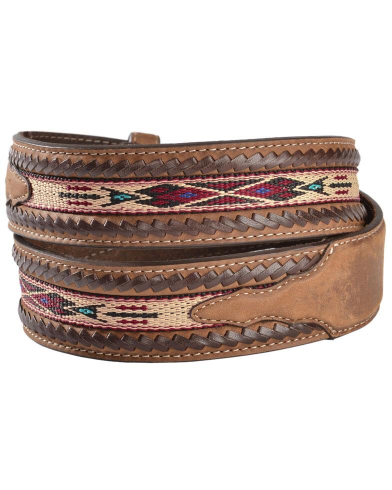 Silver Creek Men's Bucklace Edged Aztec Belt, Bark, hi-res