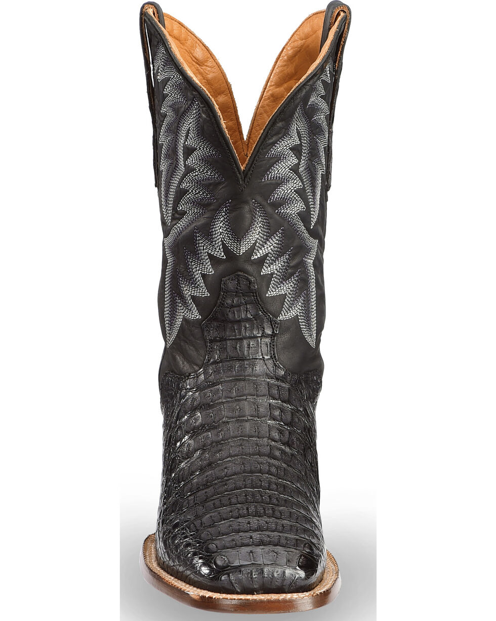 El Dorado Men's Handmade Caiman Black Stockman Boots - Square Toe , Black, hi-res