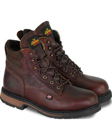 "Thorogood Men's American Heritage Classics 6"" Work Boots - Steel Toe, Dark Brown, hi-res"